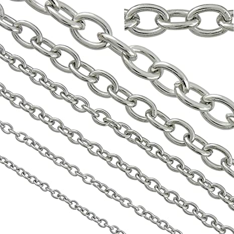 Silver Chain Jewellery Chain 8mm x 6mm LEAD FREE 3 Meters