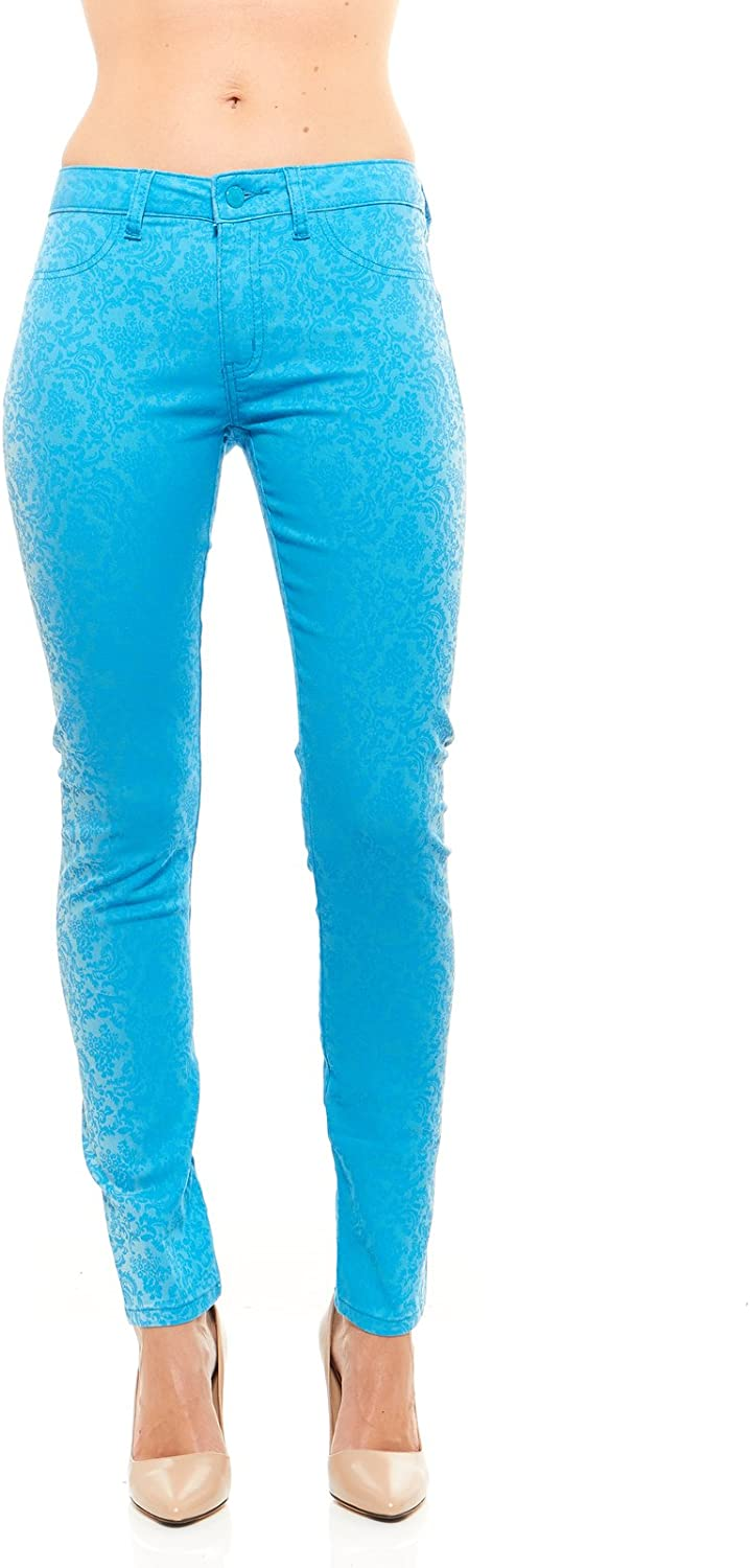 Red Jeans Womens Stretchy Casual Denim Pants With Light Paisley Print