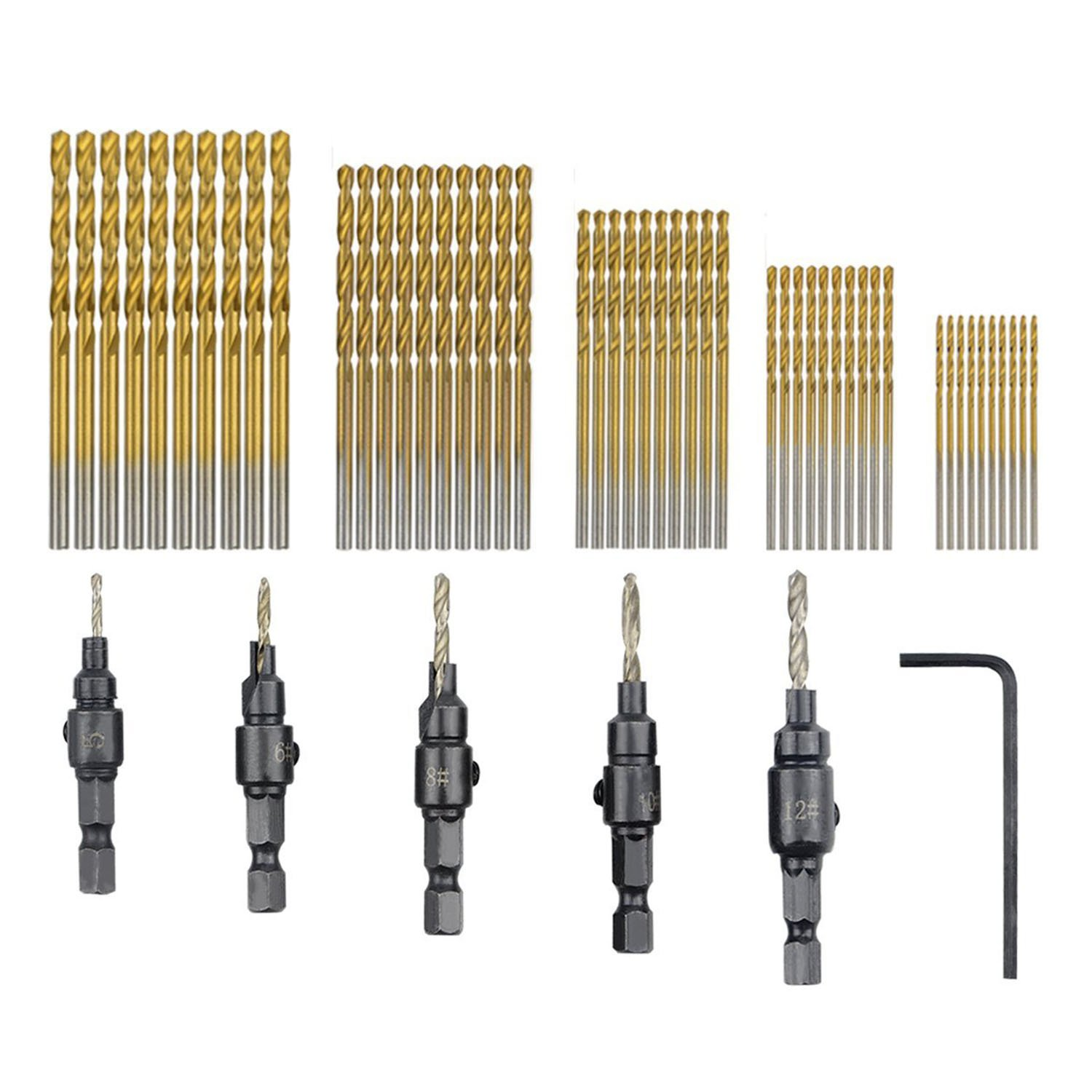 TOOGOO 55 PCS HSS 4241 Countersink Cone Drill Bit Set and High Speed Steel HSS Titanium Twist Drill Bits (1 mm-3 mm)
