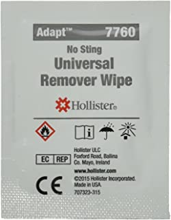 Hollister 7760 Adhesive and Barrier Remover Wipes, Category: Ostomy Supplies (Pack of 50