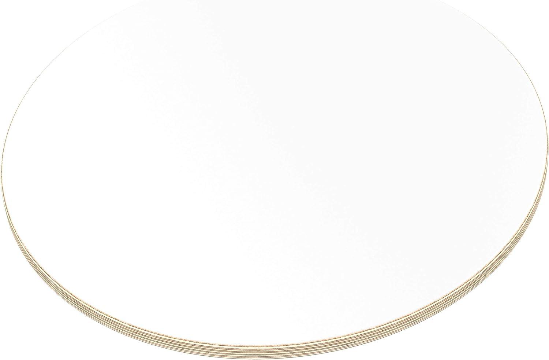 AUPROTEC Tischplatte 15mm rund /Ø 500 mm wei/ß Multiplexplatte melaminbeschichtet von 20cm-120cm ausw/ählbar runde Sperrholz-Platten Birke Massiv Multiplex Holz Industriequalit/ät