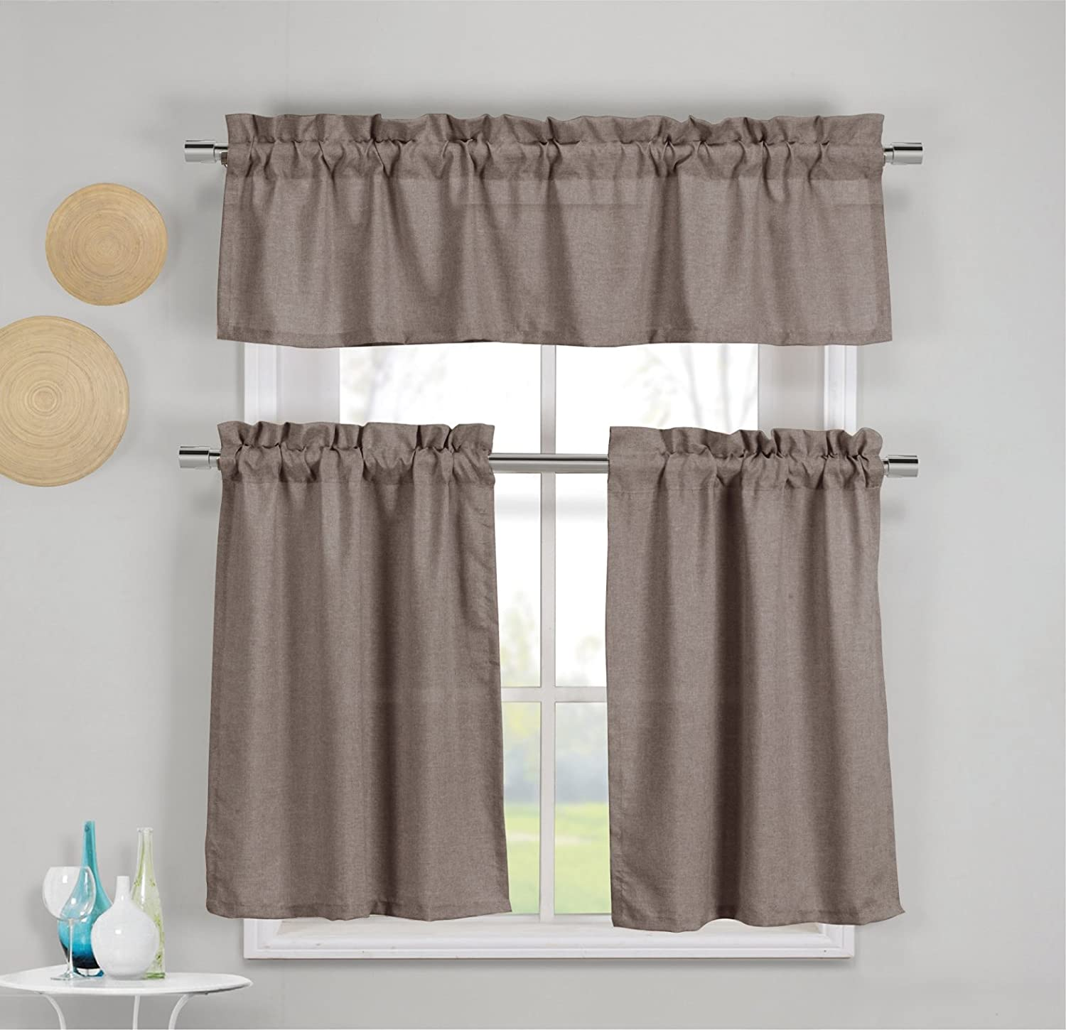 Amazon.com: 3 Piece Faux Cotton Kitchen Window Curtain Panel Set with 1 Valance and 2 Tier Panel Curtains (Wine Red): Home & Kitchen