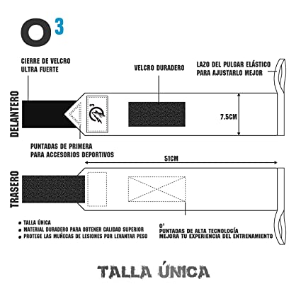 O³ Muñequeras Crossfit 2 Unidades con Banda Elástica | Muñequeras Deportivas Duraderas para Soporte Pesas | Ideales para Crossfit - Levantamiento De Pesas: ...