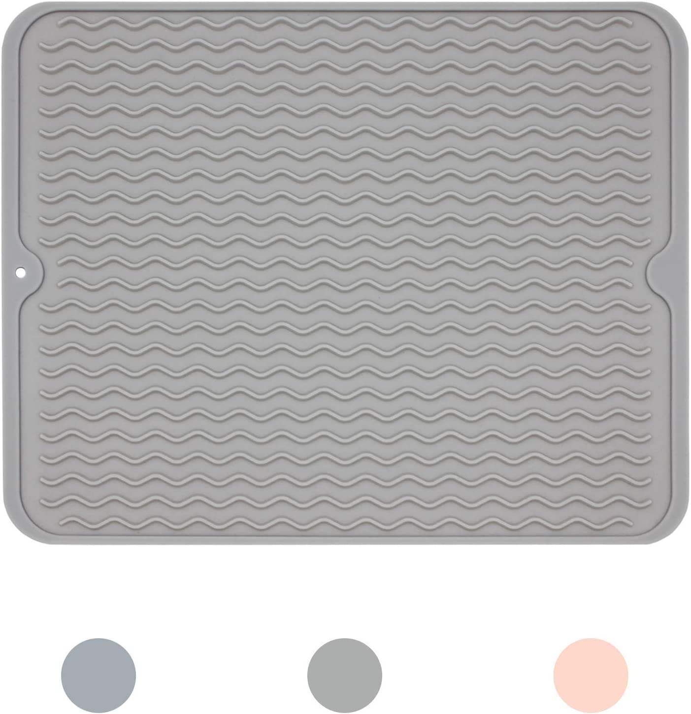 Ptlom Dog and Cat Placemat, Pet Food and Water Mat, Suitable for Large, Medium and Small Pets, Prevent Water and Food from Spilling, Silicone, Light Gray