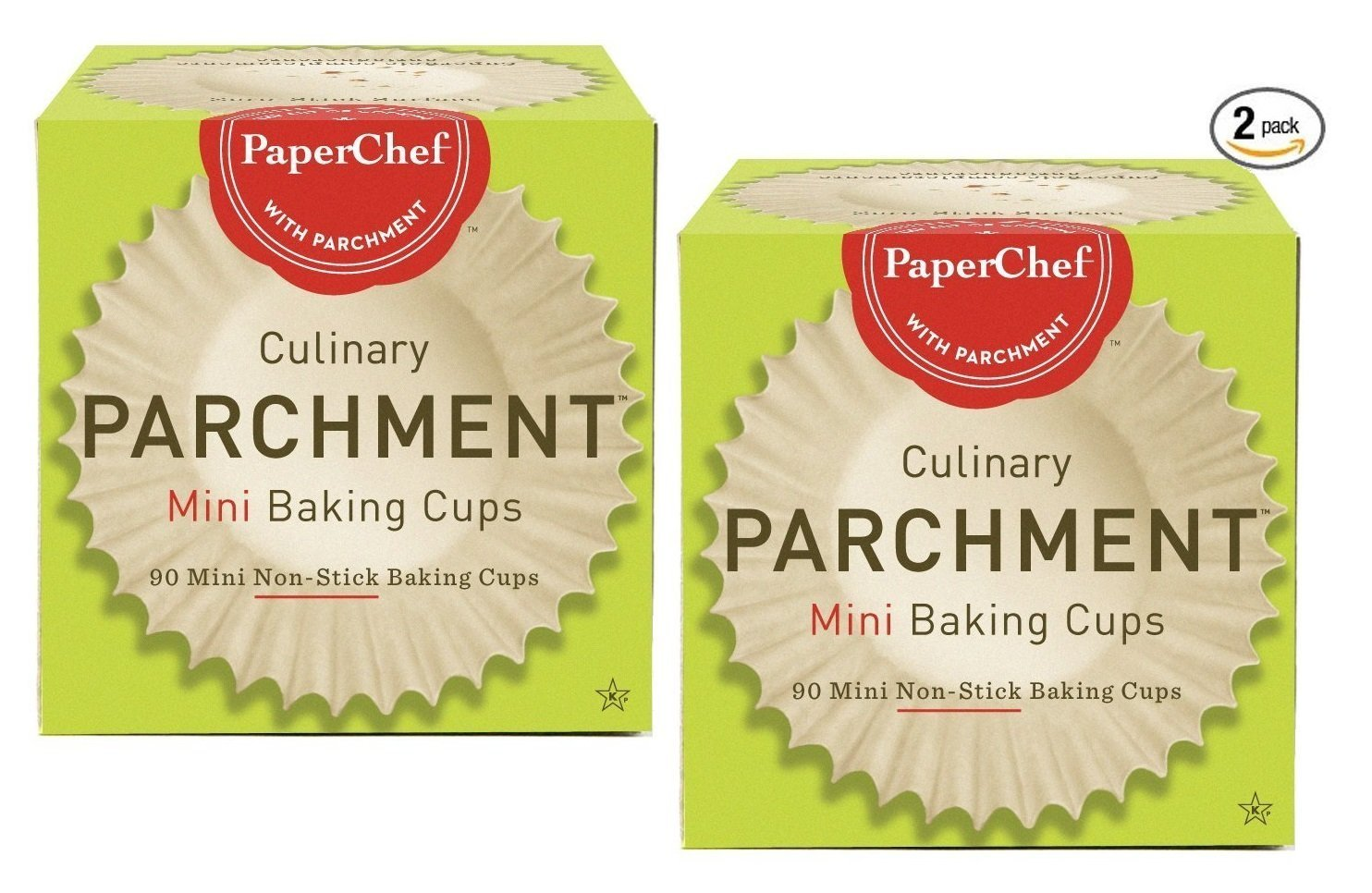 (2 Pack) Mini Paper Cupcake Liners / Baking Cups, 90-ct/Box Paper Chef 05010