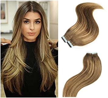 Amazon Com Alizee Brown Blonde Ombre Balayage Highlights Tape In