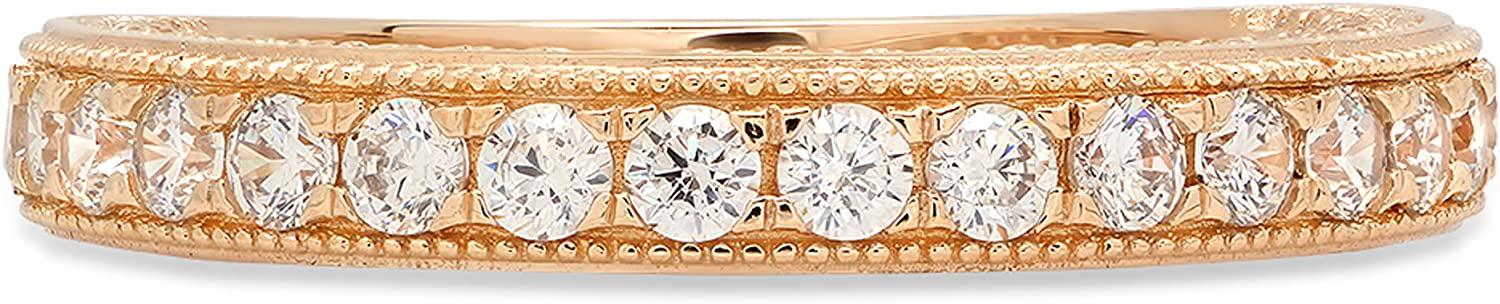 Clara Pucci 1.0 ct Round Brilliant Cut Simulated Diamond CZ Designer Solitaire Designer Pave Set Wedding Promise Bridal Eternity Band Ring Solid 14k Yellow Gold