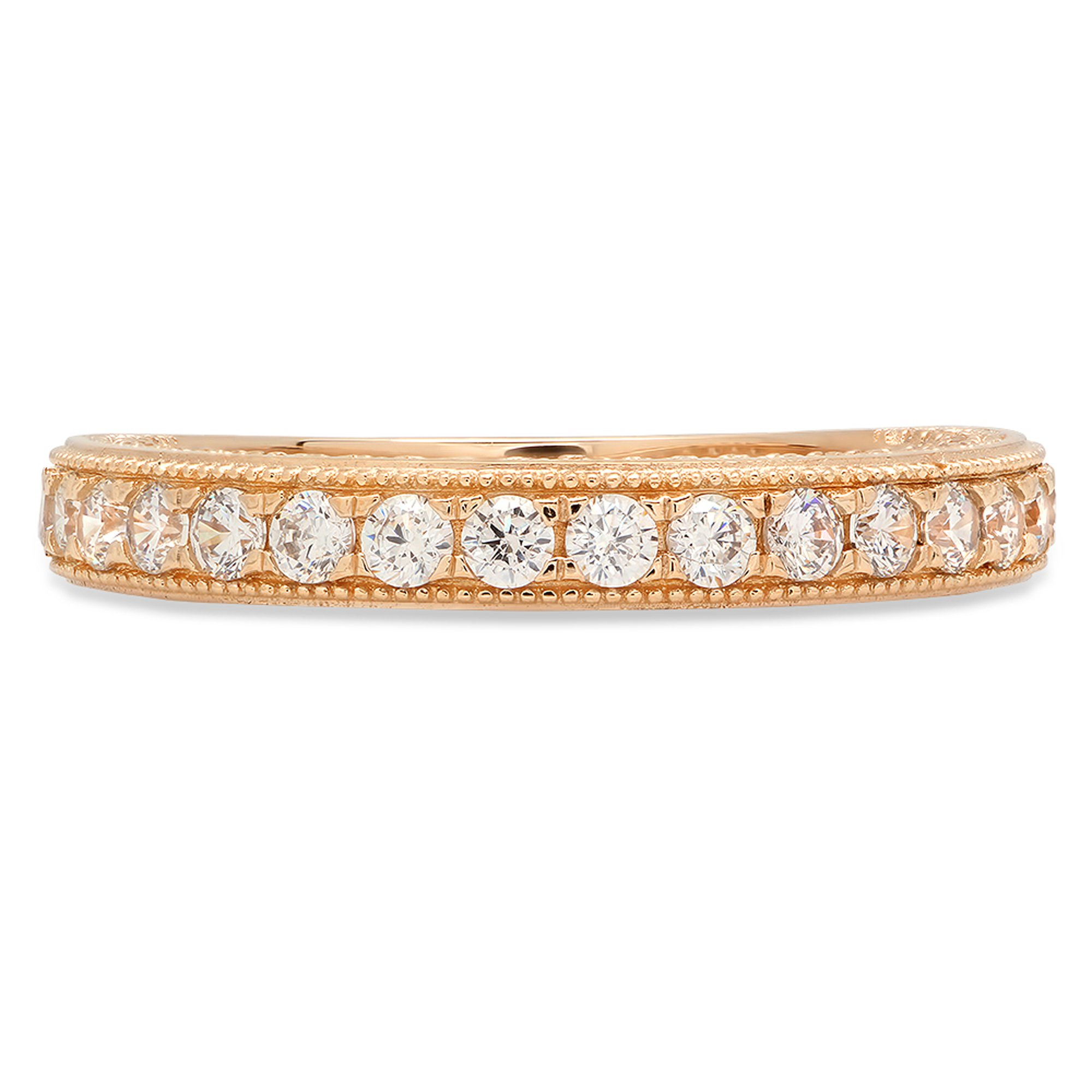 Clara Pucci Round Cut Solitaire Pave Set Wedding Promise Bridal Eternity Engagement Band Ring 14k Yellow Gold, 0.85CT, Size7