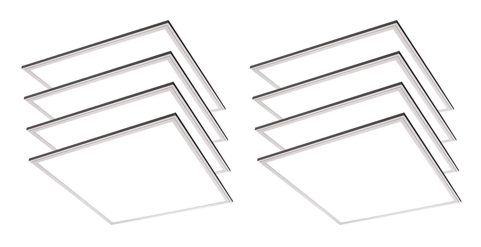 TCP 8 Pack 2x2 FT LED Flat Panel Light Fixture, 36W - 3600 Lumens, 5000K Daylight, 110V-277V, 0-10V Dimming