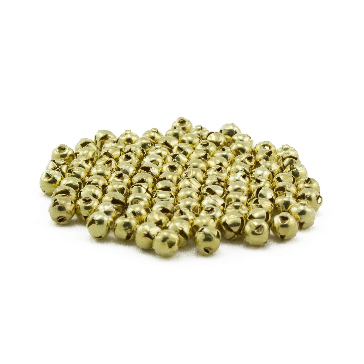 0.25 Inch 6mm Tiny Gold Jingle Bells Charms Bulk 100 Pieces