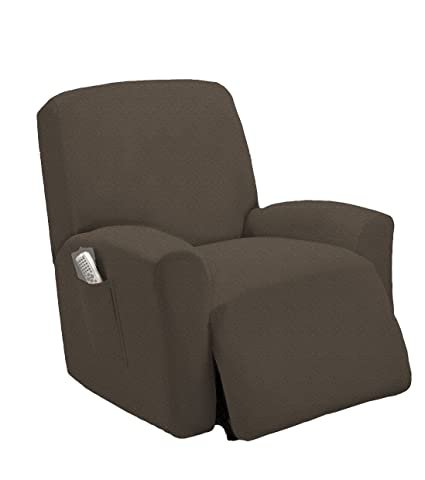 Genial One Piece Stretch Recliner Chair Furniture Slipcovers With Remote Pocket  Fit Most Recliner Chairs (Taupe
