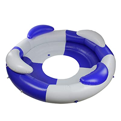 """84"""" Inflatable Blue and White Sofa Island Swimming Pool Lounger: Toys & Games"""