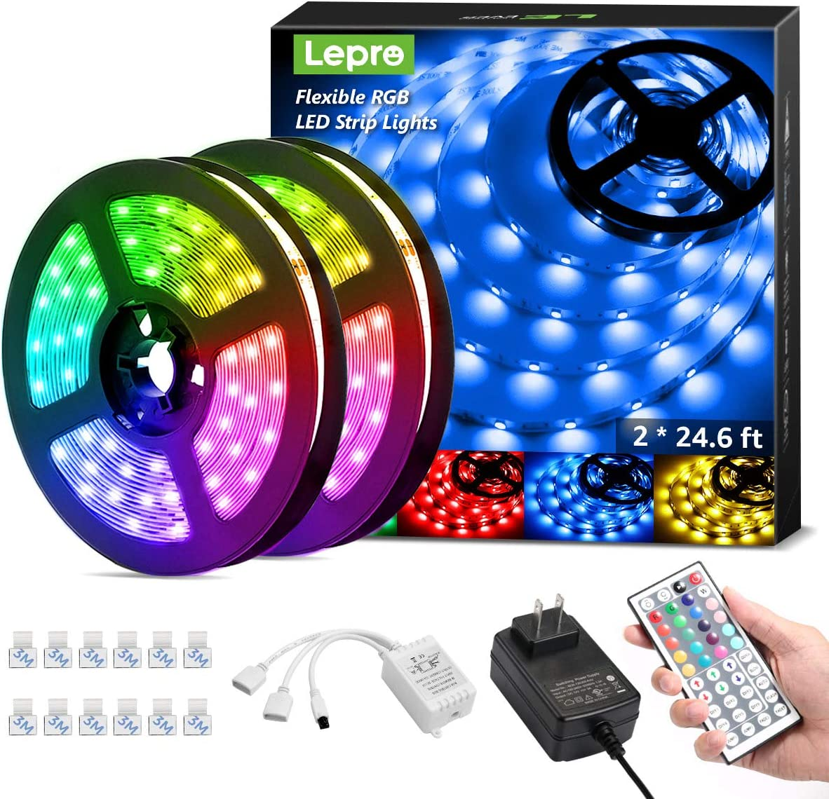 Lepro 50ft LED Strip Lights, Ultra-Long RGB 5050 LED Strips with Remote Controller and Fixing Clips, Color Changing Tape Light with 12V ETL Listed Adapter for Bedroom, Room, Kitchen, Bar(2 X 24.6FT): Home Improvement
