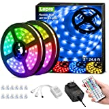 Lepro 50ft LED Strip Lights, Ultra-Long RGB 5050 LED Strips with Remote Controller and Fixing Clips, Color Changing Tape…