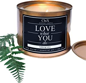 ChiX Large Scented Soy Candles / Lemongrass Scent / Non-Toxic Clean Soy Wax / Candle in Gold Tin (10oz) / Up to 65 Hours Long Burn / Perfect for Home Aromatherapy / as a Gift / and Home Decor
