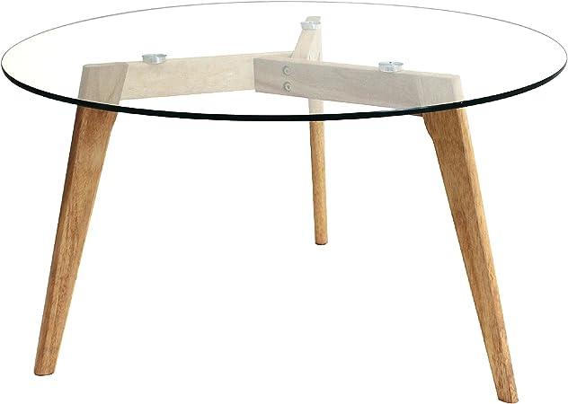 Oferta amazon: THE HOME DECO FACTORY HD3800 Mesa Redonda Cristal, Madera, Transparent/Marron, 80 x 80 x 45 cm