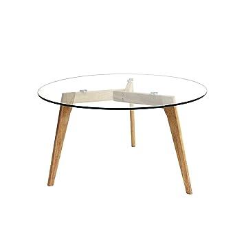 The Home Deco Factory Table Ronde Bois Verre Transparent Marron 80 X 80 X 45 Cm