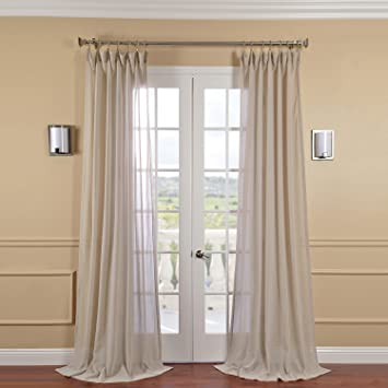 Half Price Drapes SHFLNCH M013 96 Faux Linen Sheer Curtain, Tumbleweed