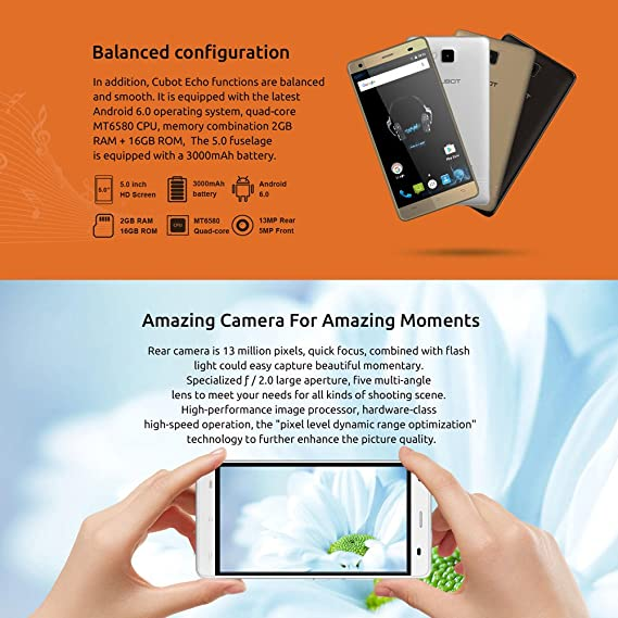 CUBOT Echo Smartphone 3G WCDMA Android 6.0 MTK6580 Quad Core 5.0