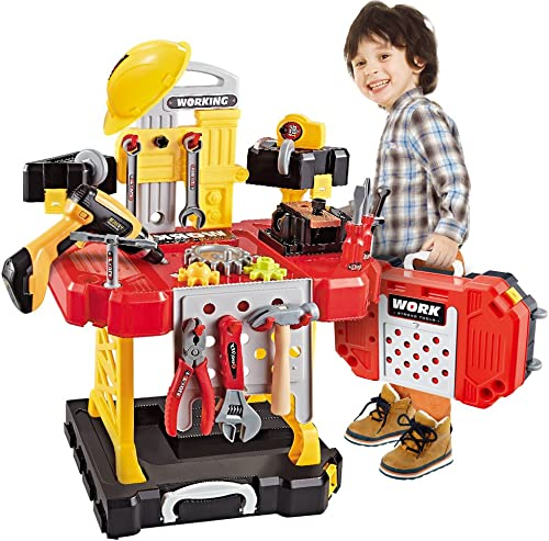 Toy Choi's 83 Pieces Kids Construction Toy Workbench