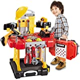 Kids Toy Workbench for Toddlers, 110 Pieces Kids Power Workbench Construction Tool Bench Set with Toy Tool Drill and Helmet, Boys Toy Work Shop Tools Workbench for Kids