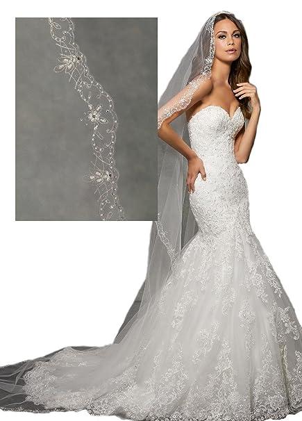 d470e83e Passat Diamond White Single-Tier 3M Cathedral Wedding Bridal Veil Mantilla  with Embroidery, Beaded