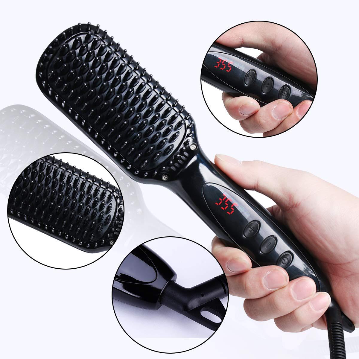 Feeke Hair Straightener Brush, Ionic Beard Straightener, Anti-scald, Auto Temperature Lock, Heat Brush Comb for Woman & Men