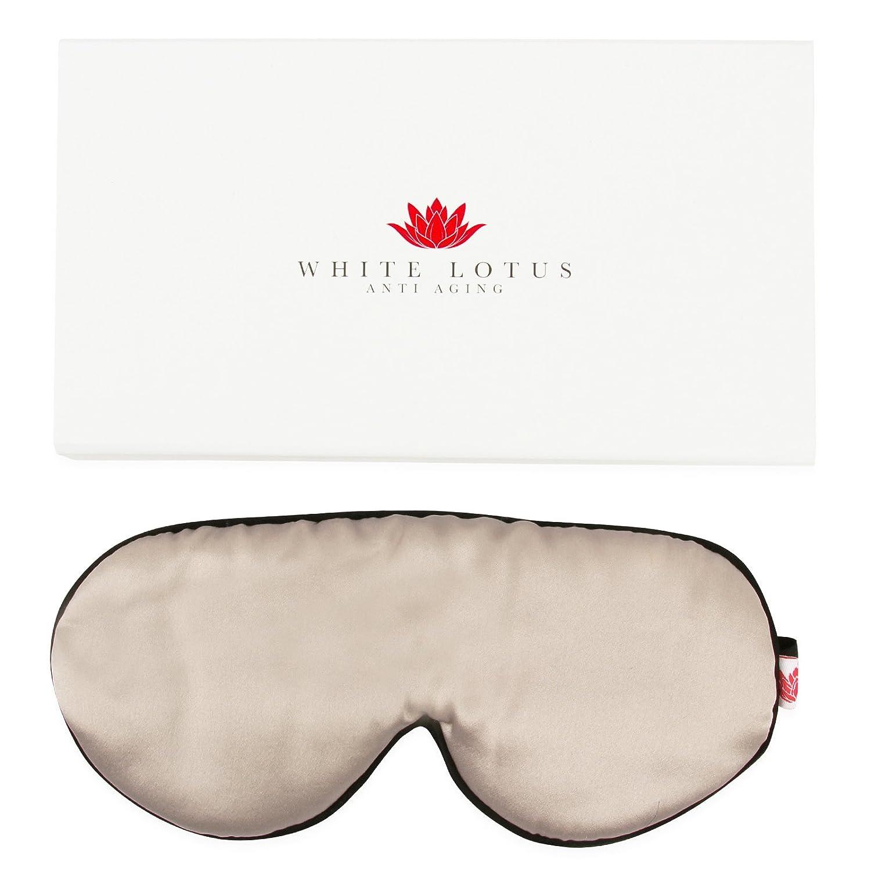 White Lotus Anti Aging GANZHEITLICHE SEIDEN-SCHLAFMASKE//Augen-Maske aus 19 Momme Maulbeer-Seide Geschwollene Augen /& Augenringe//Vollst/ändig abdunkelnd f/ür tollen Schlaf//Wei/ße Luxus-Geschenkbox