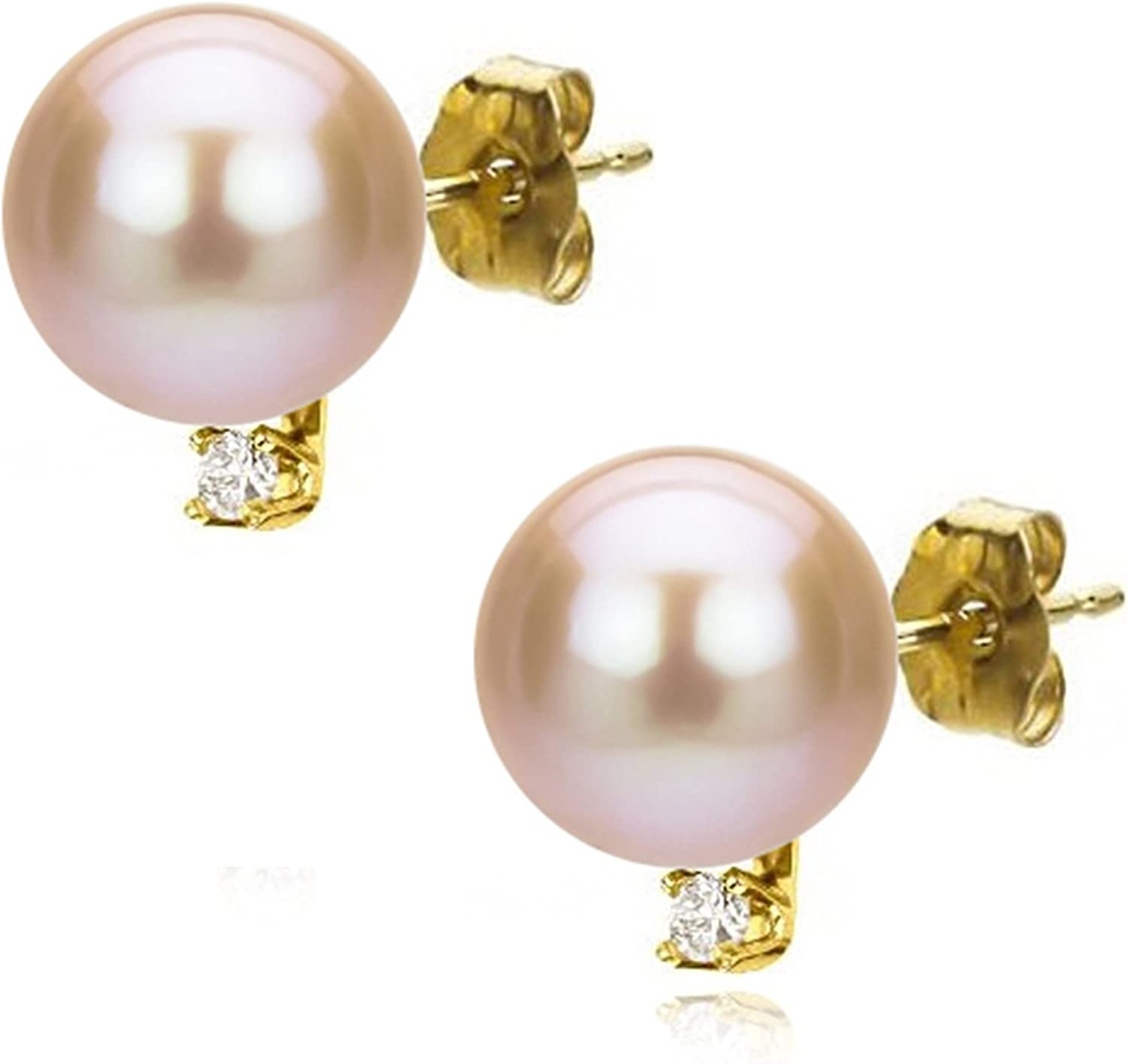 Pink Pearl Earrings Bridal Party Post Earrings Excellent Pearl Luster Freshwater Real Pearls Sparkly Rhinestones Gold Tones