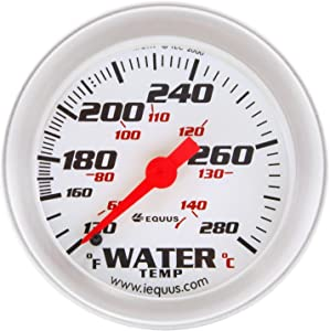 "Equus 8242 2"" Mechanical Water Temperature Gauge, White with Aluminum Bezel"