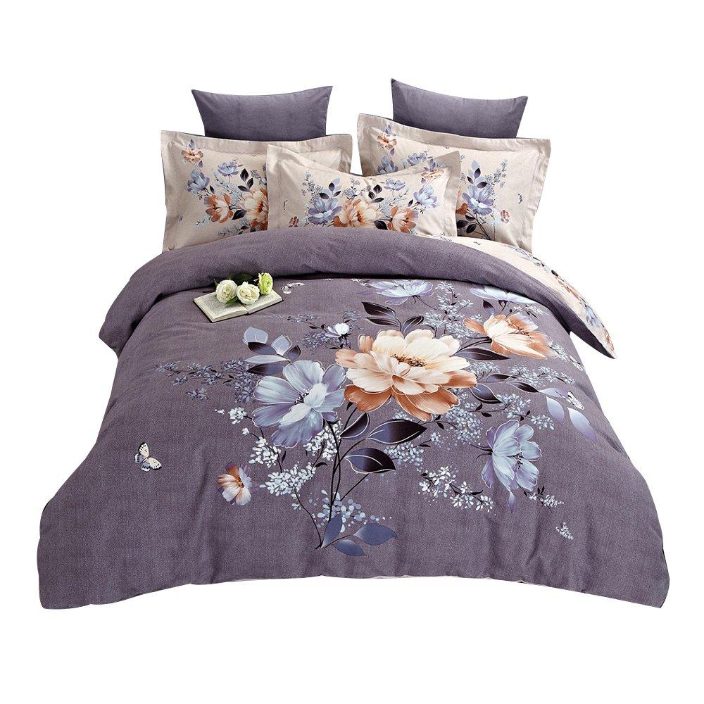 Alibasis 100% Cotton Floral Pattern Design Bedding Sets, Lightweight Duvet Cover Set For Kids Family