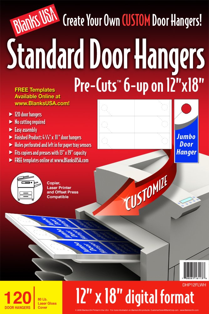 Amazon.Com : Blanks/Usa Pre-Cut Standard Door Hangers (Dhp12Flwh