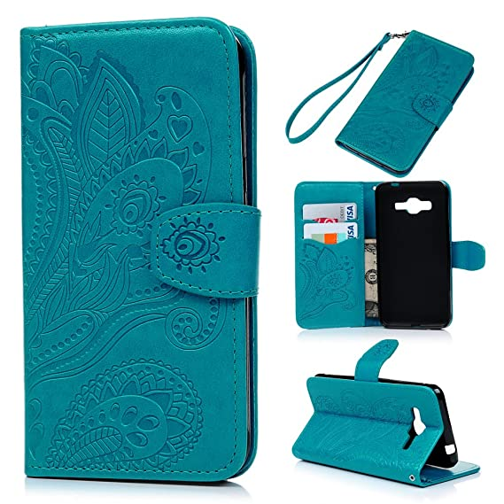 J3 Case, Galaxy J3 Case (2016 Version) - Wallet Case Folio Kickstand Case  3D Embossed Plants Premuim PU Leather Case Shockproof TPU Inner Bumper Slim