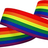 Single Face Rainbow Stripes Printed 1 Inch White Grosgrain Ribbon 25 Yards