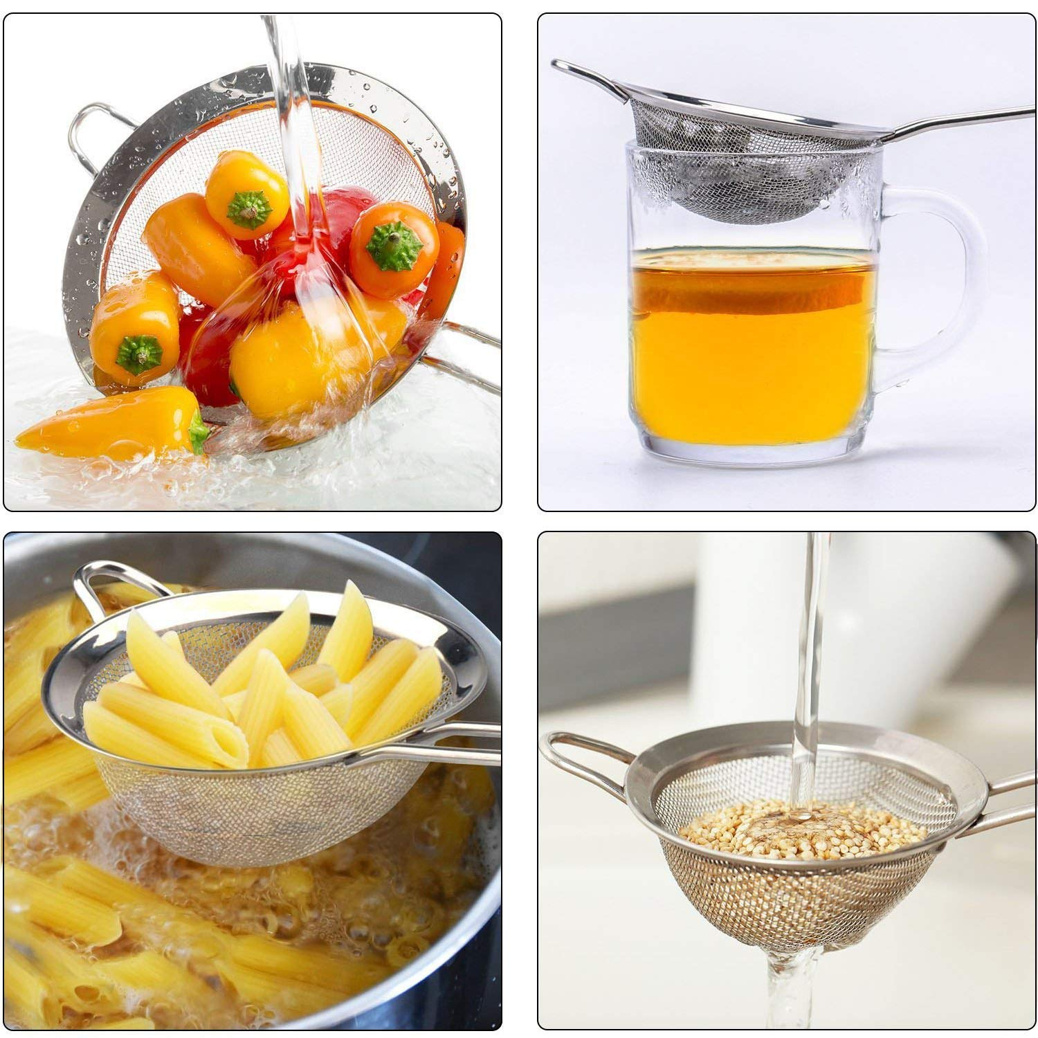 Flour Juice Wellehomi Premium Fine Mesh Strainers Quinoa,Tea Hot Pot Set of 3 for Baking and Cooking and So on Stainless Steel Kitchen Fine Sieves Strainers with Long Handles
