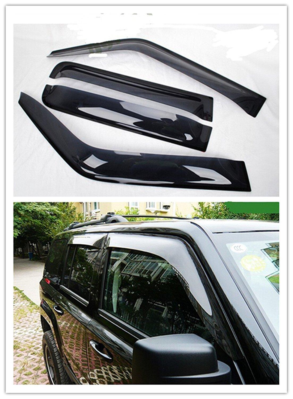 Toworld18 Smoke Window Visor Ran Sun Deflector Shelter Rain Guard Vent Shade for Jeep Patriot 2007-2016 Black