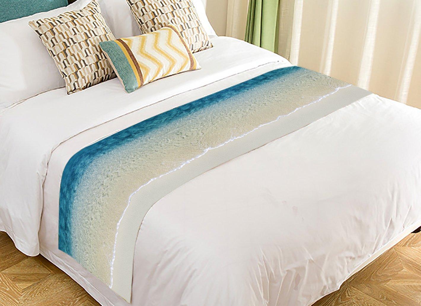 Custom Beach Clear Sea Sand Ocean Super Bed Decoration Bed Runner Bedding Scarf 20x95 Inch
