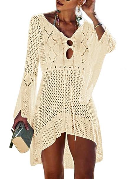df037cefbd Eytino Women Crochet Lace Dress Sexy Bikini Swimsuit Bathing Suit Cover up  Beachwear,One Size