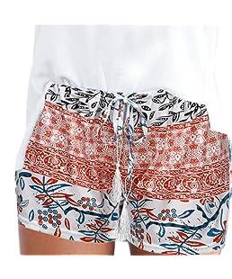 DaySeventh Women Sexy Hot Pants Summer Casual High Waist Beach Shorts (S, Dark Orange)