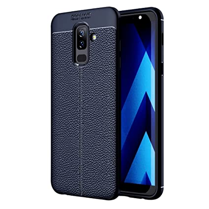 new style 54fff 8460f Golden Sand Compatible with Samsung Galaxy J8 Back Cover Premium Leather  Texture Series Shockproof Armor TPU Case Cover for Samsung J8, Midnight Blue