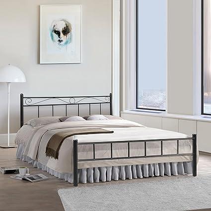 furniturekraft london metal king size double bed black amazon in