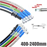 Red, 800mm 10mm 28/° Port 300mm Motorcycle Triple Protection Brake Line 2400mm Length