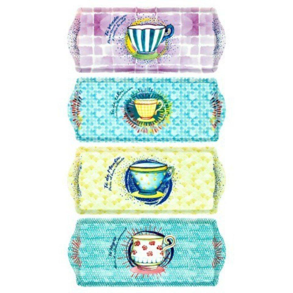 CAPRILO Set de 4 Bandejas Decorativas Alargadas de Plástico Tazas Té Menaje de Cocina. Vajillas. Regalos Originales Hogar. 2 x 38.5 x 16.5 cm.