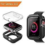 Benuo für Apple Watch case Series 3/2 Apple Watch Displayschutz 42mm mit PC Apple Watch Cover Apple Watch Schutzhülle 3 42mm Schwarz