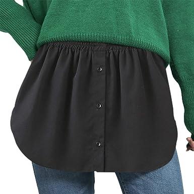 Black and Blue Striped 2 Pieces Adjustable Layering Fake Top Lower Sweep Skirt Half-Length Splitting Mini Skirt Hemline Shirt Extender for Women