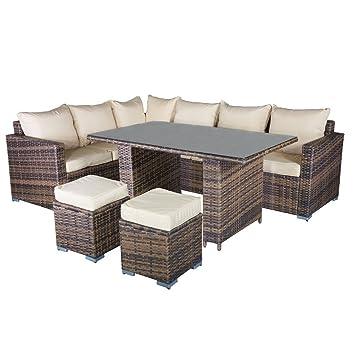 Incroyable Carran Furniture Bonsoni Orlando En Rotin Ensemble De 7 Places Du0027angle  Modulaire En Cappuccino