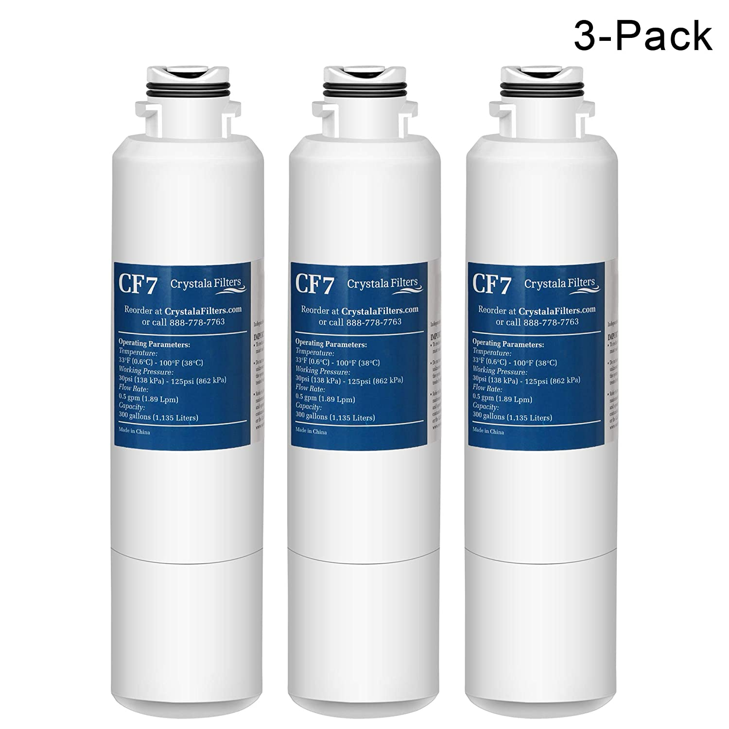Samsung DA29-00020B Refrigerator Water Filter Compatible for Samsung DA29-00020B, HAF-CIN/EXP, Kenmore 46-9101 by Crystala Filters, 3 Pack