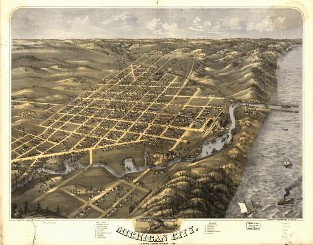 Amazon.com: 1869 Birds eye map of Michigan City, Indiana ... on trail creek indiana map, weather lansing michigan map, mongo indiana map, usa map, south bend indiana map, hammond indiana map, michigan city apartments, michigan city area map, burlington indiana map, wawasee indiana map, wisconsin indiana map, tell city map, michigan city lighthouse, saturn indiana map, waynetown indiana map, michigan border map, united states indiana map, gardner indiana map, michigan city in map, bethel college indiana map,