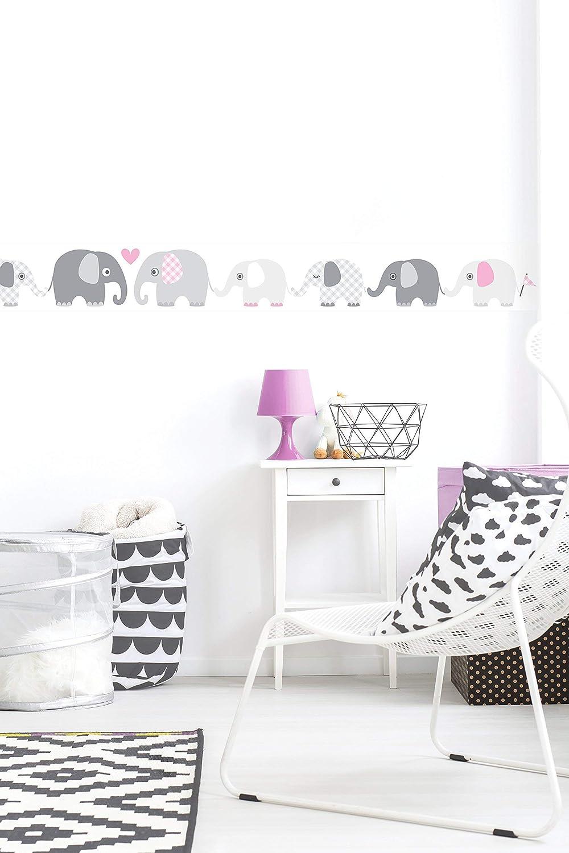 berenjena-gris dise/ño de animales con elefantes lovely label 450 x 11,5 cm cenefa autoadhesiva