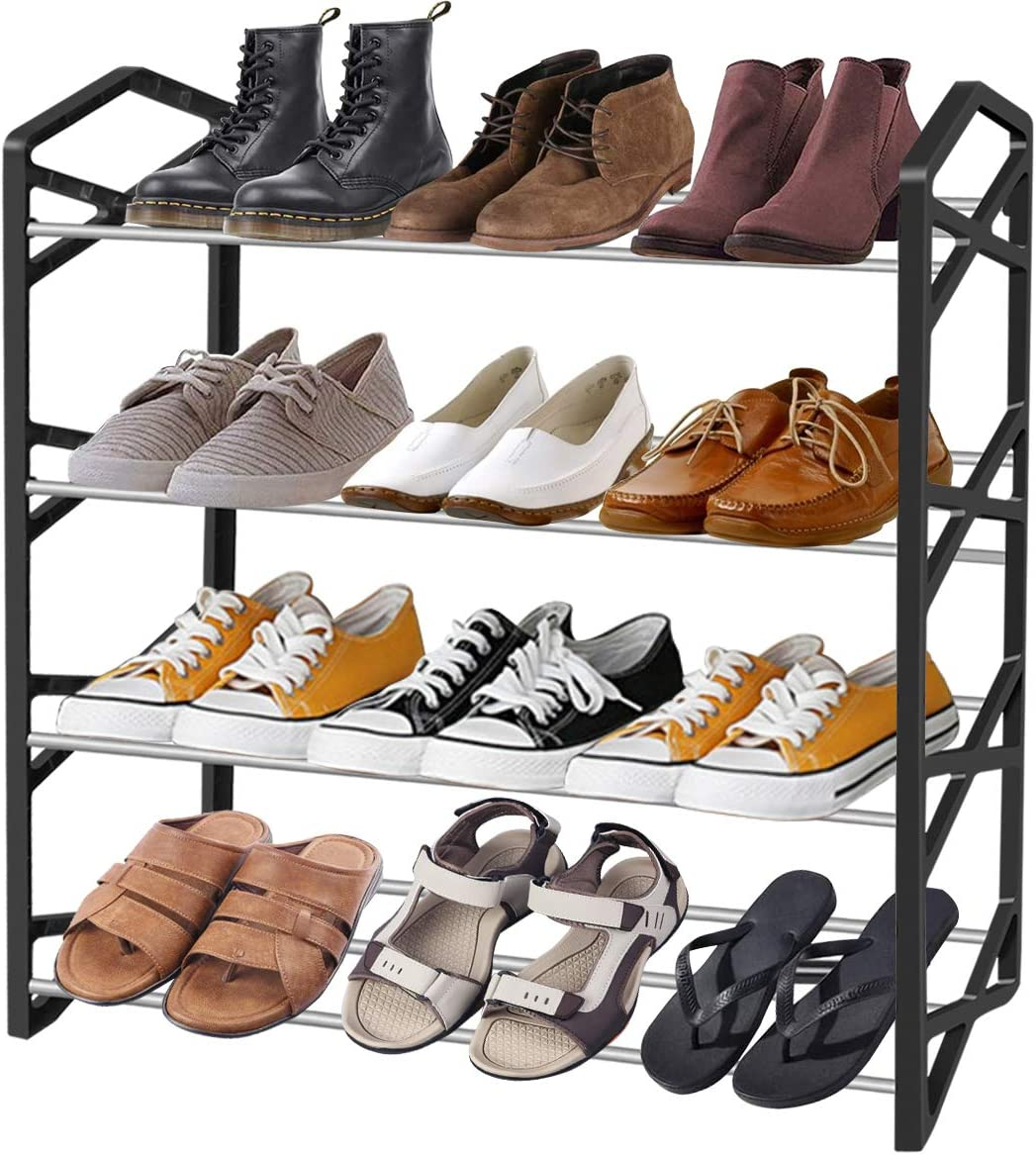 Sturdy Plastic Stainless Steel Assembly 4-Tier Shoe Rack for Home Wall Entrance, Bedroom, Closet, Dormitory Room Closet Storage Rack Shoe Rack for Women, Men and Kids